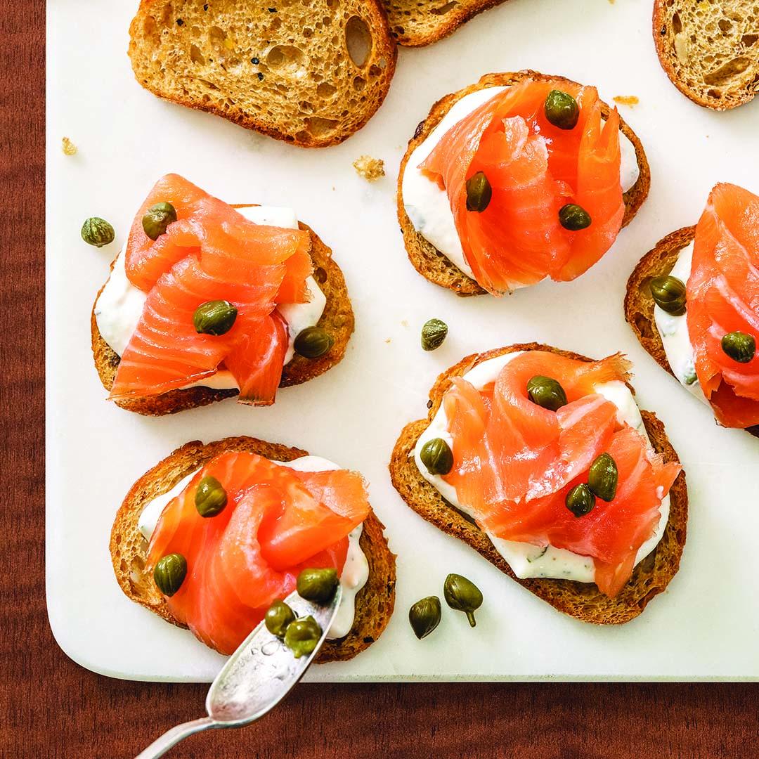 Smoked Salmon On Crostini With Creme Fraiche Recipe Wegmans
